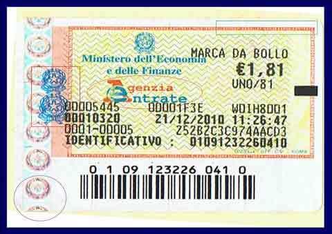 marca da bollo 2 euro