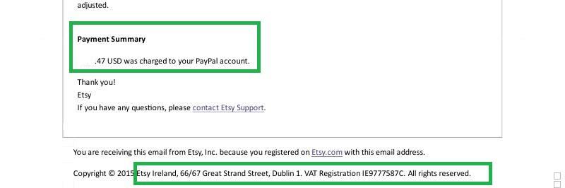 Mail Ricevuta Etsy Ireland IE9777587C