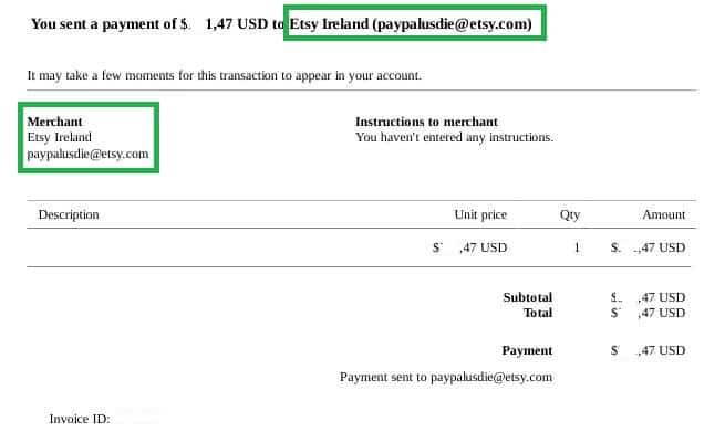 Ricevuta Paypal Etsy Ireland IE9777587C
